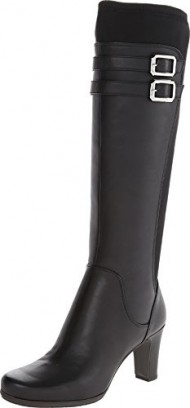 Rockport Women's Total Motion 75 mm Tall Boot,Black Leather/Stretch,9 M US