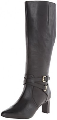 Lauren Ralph Lauren Women's Nally Wide Calf Western Boot, Black, 6 B US