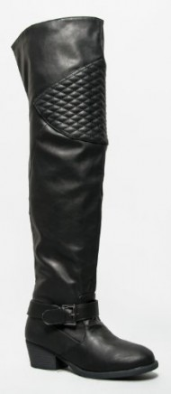 Qupid TREVOR-32 Quilted Knee Pad Thigh High Over the Knee Biker Boot