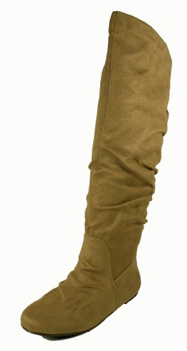 Cheryl! By Soda Fashion Slouchy Knee-high Flat Boots with Ruched Back Design and Buckle Adornment, light taupe faux suede, 6.5 M