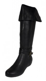Mona! By Soda Foldable Mid Calf to Knee High Strap Wrapped Hidden Low Heel Boot, black leatherette, 8 M