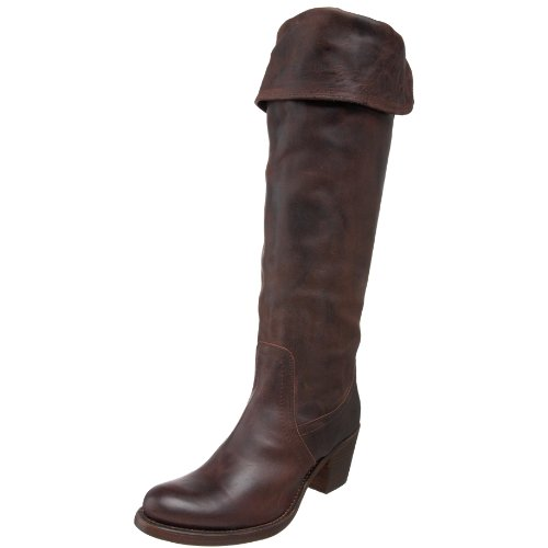 FRYE Women's Jane Tall Cuff Boot, Dark Brown Burnished Antique Leather, 7.5 M US