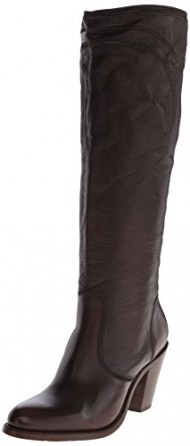 FRYE Women's Mustang Stitch Tall Riding Boot, Dark Brown, 8.5 M US