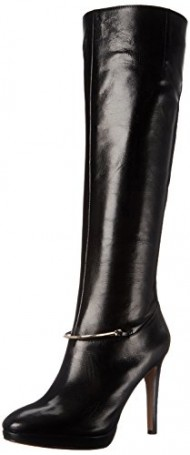 Nine West Women's Pearson Leather Knee High Boot, Black, 7.5 M US