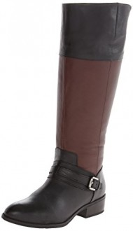 Lauren Ralph Lauren Women's Maritza Wide Calf Riding Boot, Black/Dark Brown, 8 B US