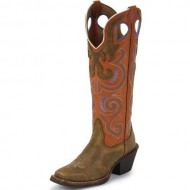 Tony Lama Women's 3R Series Buckaroo Cowgirl Boot Square Toe Tumbleweed 8 M US