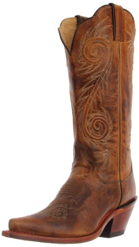Justin Boots Women's Western Fashion 13″ Boot Narrow Square Toe Leather Outsole,Tan Damiana,9.5 B US