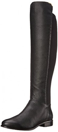Cole Haan Women's Dutchess OTK Motorcycle Boot, Black Leather, 5.5 B US
