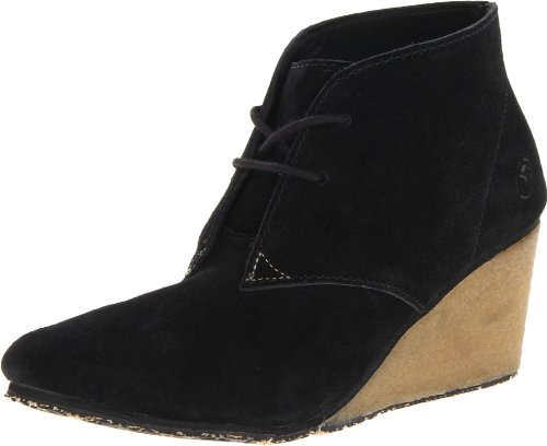 Ocean Minded by Crocs Women's OM391 Ruffout Chukka Wedge,Black/Khaki,9 M US