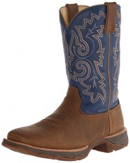 Durango Women's Ramped Up Lady Rebel Blue Riding Boot, Distressed Tan/Blue, 10 M US