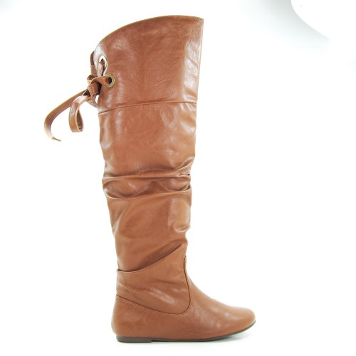 Letta Tan PU Knee High Leather Boots Fashion Laced Lace Tie Criss Cross Bow-8