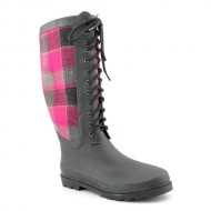 Chooka Women's Berry Wool Plaid Rain Boot, Berry, 7 M US