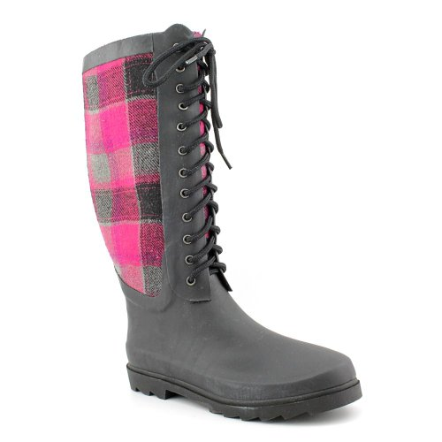 Chooka Women's Berry Wool Plaid Rain Boot, Berry, 7 M US