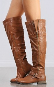 Women's Over The Knee Faux Leather Buckle Boots in Tan, Black, Taupe (8.5, Tan)