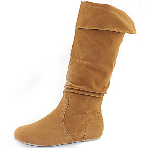 Women's Top Moda Post-2 Tan Sv Round Toe Mid High Boots Shoes, Tan SV, 10