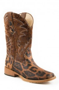 Roper Women's Square Toe Leopard Riding Boot,Brown,9.5 M US