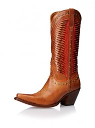 Lucchese Women's Handcrafted 1883 Twisted Leather Studded Cowgirl Boot Snip Toe Tan US