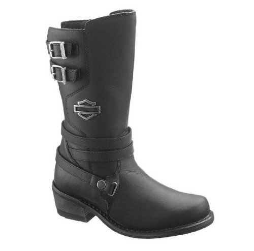 Harley-Davidson® Wolverine® Women's Kayleigh Black Leather Motorcycle Boots. 9.5-Inch Shaft, 2-Inch Heels. D87023