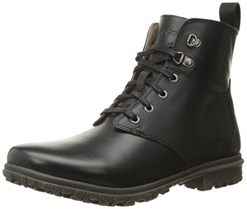Bogs Women's Pearl Lace Leather Rain Boot, Ebony, 6.5 M US