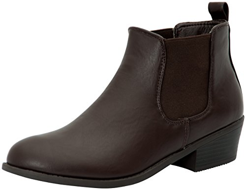 Refresh Womens Tildon-02 Almond Toe Simple Flat Heel Ankle Booties