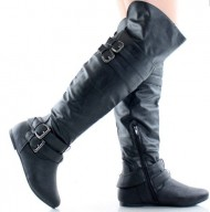 Women's Above the Knee Dual Buckle Boots in Black, Brown, Khaki, Gray, White (6.5, Black)