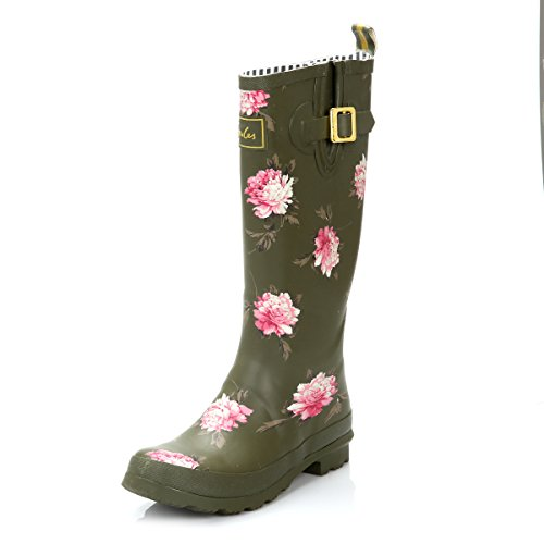 Joules Welly Print Grape Peony Green Women's Rain Snow Boots (6 US)