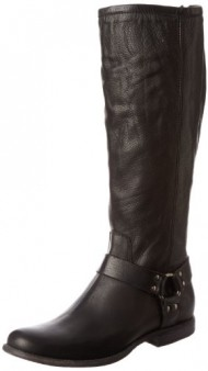 FRYE Women's Phillip Harness Tall Boot: Wide Calf, Black Soft Vintage Leather Wide Calf, 8.5 M US