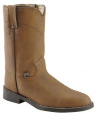 Justin Boots Women's Farm & Ranch 10″ Boot Roper Toe Rubber Outsole,Crazy Cow,8.5 B US