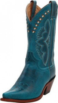 Justin Boots Women's Western Fashion 11″ Boot Narrow Square Toe Leather Outsole,Turquoise Damiana,9.5 B US