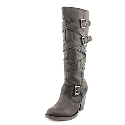 Madden Girl Women's Kiickbak Riding Boot, Black Polyurethane, 5 M US