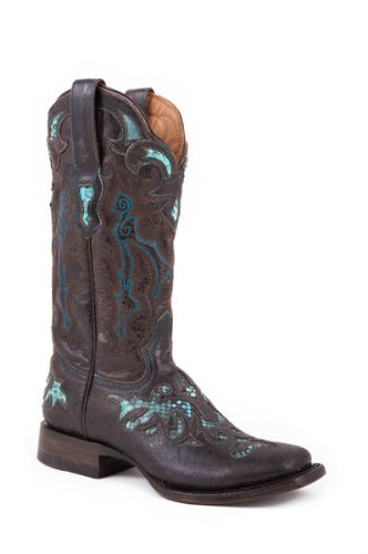 Stetson Womens Exotic 11″ Brown Python Snake Skin Western Cowboy Boots 9 M