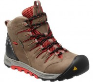 KEEN Women's Bryce Mid WP Hiking Boot,Brindle/Hot Coral,6 M US