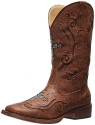 Roper Women's Crossed Out Western Boot,Brown,6.5 M US