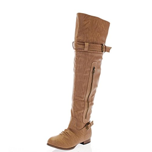 Faux Suede Leatherette Buckle Zip Up Round Toe Wooden Heel Over the Knee OTK Thigh High Boot TN7.5