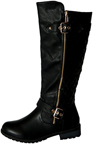 Forever Mango-21 Women's Winkle Back Shaft Side Zip Knee High Flat Riding Boots Black 8