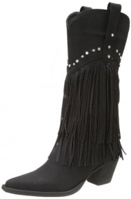 Roper Women's Fringe and Stud Western Boot,Black,8 M US