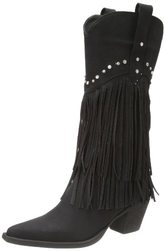 Roper Women's Fringe and Stud Western Boot,Black,8 M US