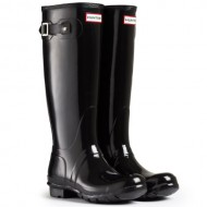 Women's Hunter Boots Original Tall Gloss Snow Rain Boots Water Boots Unisex – Black – 8