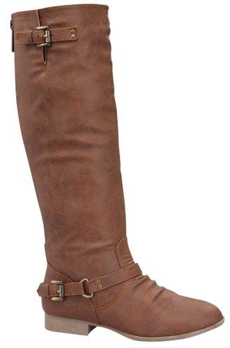 Top Moda Women's COCO 1 Knee High Riding Boot,9 B(M) US,Premium Tan