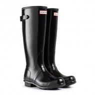 Womens Hunter Original Adjustable Back Gloss Rain Snow Wellington Boot – Black – 9