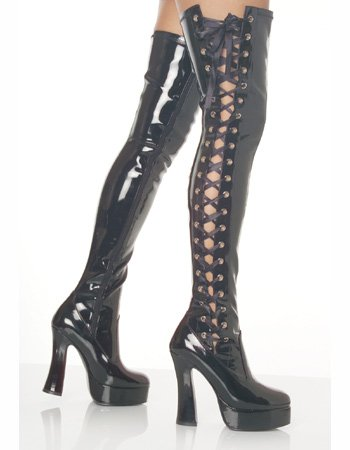 Black Lace Up Side Sexy Thigh High Boot – 13