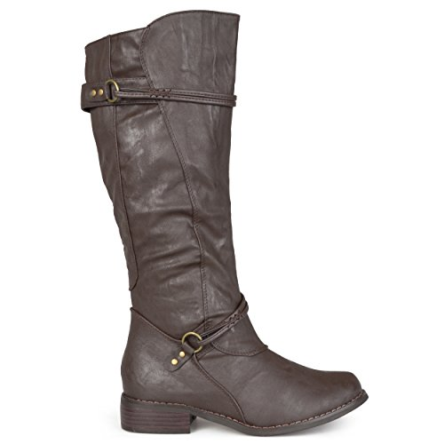 Brinley Co. Womens Tall Buckle Riding Boots Brown 7
