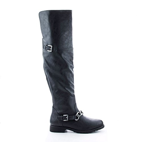 Kacy26 Black Round Toe Over The Knee Chained Riding Boots-7