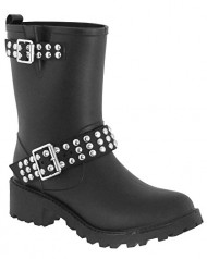 Capelli New York Ladies Studded Buckle Moto Rain Boot Black 10