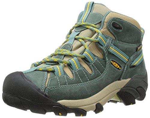 KEEN Women's Targhee II Mid Hiking Shoe, Mineral Blue/Ceylon Yellow, 9.5 M US