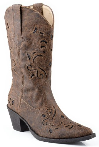 Roper Women's Snippy Glitter Western Boot,Vintage Brown,11 M US