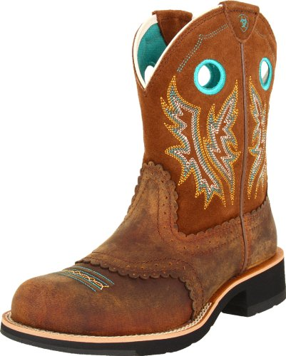 Ariat Women's Fatbaby Cowgirl Western Boot, Powder/Brown/Tan, 9 B US
