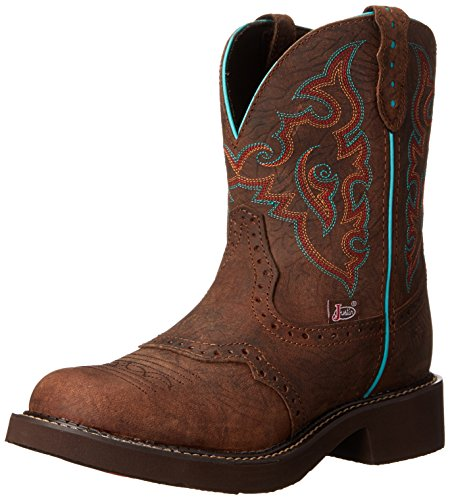 Justin Boots Women's Gypsy Collection 8″ Soft Toe,Barnwood Brown Cowhide,5 B US