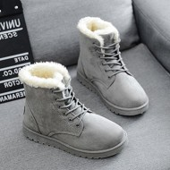 YH Women's Winter Warm Snow Boots Lace up Short Ankle Boots Grey 40