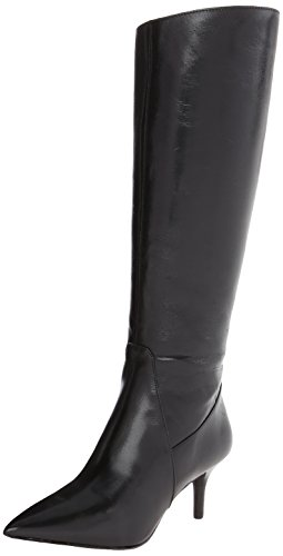Nine West Women's Mayretta Leather Riding Boot,Black,9 M US